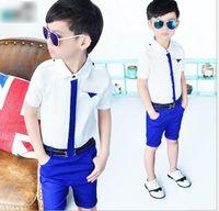 2016 Summer Handsome Boy Outfits Set Necktie Shirt + Short +...