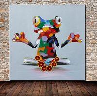 Hand Made лягушка животных, чисто Ручная роспись мультфильм поп-арт живопись маслом на High Quality.in любой подгоняли размер принял али-симпатичный