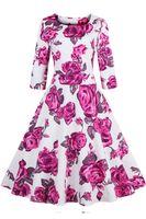 Платье De Festa Женщины Платья 2016 осень Роза Цветочные печати Урожай платье плюс размер дамы с длинным рукавом платье Vestidos FS0351