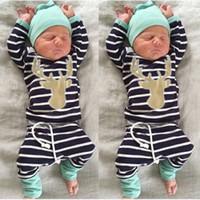 Recém-nascido veados Cotton raposa roupa impressa set criança camisa confortável Pants manga comprida e chapéu Outono-Inverno Roupas Roupas 3pcs roupa