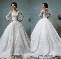 Vintage 2016 Sheer Amelia Sposa Wedding Dresses Detachable R...