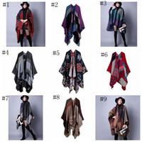 Кашемир шарф Лоскутная плед пончо 130 * 155см зимы женщин Cape Пончо шали обруча Бланкетные плащ 18 цветов OOA802