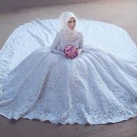 Бальное платье с длинным рукавом высокого шеи белые кружева мусульманская Плюс Размер Свадебные платья женские Свадебные платья 2017 года
