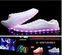 High Top women flats shoes Light LED 7 color flashing mens s...