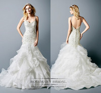 2017 Mermaid Wedding Dresses Spaghetti Strap cytal organza B...