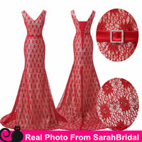 2016 Actual Model Image Full Lace Red Evening Dresses Cheap ...