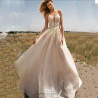 Amazing Deep V- neck Wedding dress Lace Appliques Tulle Floor...