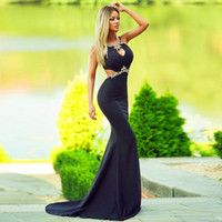 Sexy Cutaway Sides Long Black Prom Dressess Crystal Mermaid ...