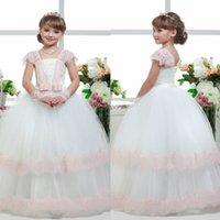 Custom Made Flower Girls Dresses For Weddings Cap Sleeve Lac...
