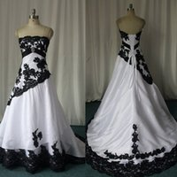 2017 Black And White Wedding Dresses Strapless Taffeta Appli...