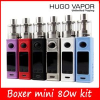 100% Аутентичные Боксер Мини 80W комплекты TC 80W Комплекты E сигарет Boxer Box Mod Kits HUGO VAPOR Mod Kits Новый мини-версия