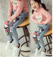 Girls Jeans Kids Pants Mickey Mouse Jeans Korean Girl Dress ...