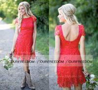 Красный полный шнурок Короткие Платья невесты Дешевые Western Country Style Crew Neck рукава Cap Mini Backless Homecoming Коктейльные платья дешевые