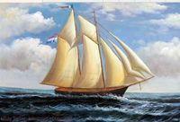 Морской пейзаж Парусник Классический океан Навигационный Pure Ручная роспись Картина Морской пейзаж маслом искусства Canvas.any подгонять размер принял Джона
