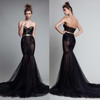 Illusion Backless Mermaid Evening Dresses Lace Applique Bead...