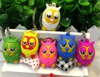 3D Owl Keychains Cute Cartoon Flexible Glue Pendant Car Key ...