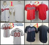 Mix Order. Stitched Baseball Jerseys Atlanta Braves Blank Whi...