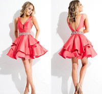 2016 Water Melon V- neck Backless Cocktail Dresses Beaded Bel...