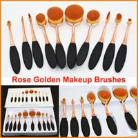 10pcs набор кисти для макияжа овальный Зубной черный розовое золото Кисти Пудра кисти тени для век румяна Soft Curve Кисти для макияжа Инструменты