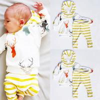 Newborn Baby Boy Girl suits thick hoodies+ yellow striped pan...