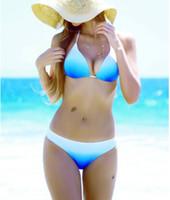 2016 Women Padded Push Up Bikini set Sky Blue Ombre Strappy ...