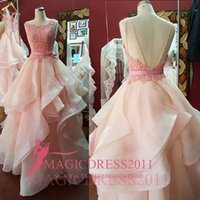 Charming Pink Lace Prom Dresses Formal Evening Gowns Open Ba...