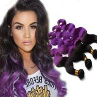 3 Bundles Brazilian Hair Purple Ombre Hair Brazilian Human H...