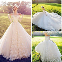 2016 Trend A Line Wedding Dress 3D Flower Batuau Long Sleeve...