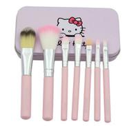 7Pcs / Set Bonjour Kitty cosmétiques pinceaux Kit de maquillage Rose de fer cas accessoires de beauté de toilette composent la brosse DHL Livraison gratuite de gros