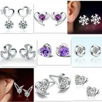 Boucles d'oreilles en argent sterling 925 Boucles d'oreilles à oreilles en trèfle et boucles d'oreille en cristal naturel avec pendentifs en diamant AAA CZ pour femmes Mix Styles