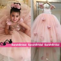 Румяна Розовый цветок девочки платья Аппликации бретельках бальное платье Ruffles Тюль Pageant платья для девочек с длинными платья девушки для свадьбы
