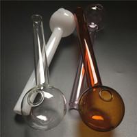 tuyau de brûleur de verre gros avec brûleur à huile brune en verre pyrex rose pipes blanches épaisses claires grand fumeur main