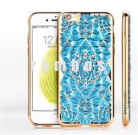 Cubierta de lujo de cristal de galvanoplastia Teléfono TPU Volver con diamante 3D para el iphone Girasol 6 6 Plus