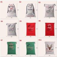 Mais novo de Natal Grande lona Monogrammable Papai Noel com cordão saco com renas, Monogramable Natal malas Presentes Sack Bags 1050.