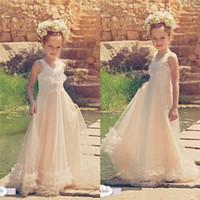 2016 Шампанское Прекрасные девушки цветка платья для венчания V шеи линия длины пола первого причастия Gowns с Handamade Цветы