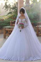 2017 Новый Изысканный Said Mhamad с длинным рукавом свадебные платья тюля бальные платья Элегантный Аппликации арабский Платье De Novia Свадебные платья на заказ