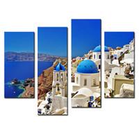 Amosi Art-4 Pieces Белые дома и церкви с голубыми куполами над кальварой Эгейское море Печать холст для гостиной Декор (деревянный подстаканник)