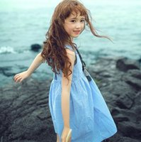Summer New Kids Clothing Sleeveless Lace Backless Cotton Dre...