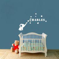 Decorative Customer Made Any Name Elephant Bubbles Vinyl Wal...