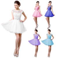 Реальные изображения Белый Розовый Короткие платья выпускного вечера Vintage Lace Sparkly Кристаллы Sheer шеи втулки крышки Мини Тюль Homecoming восьмую коктейль платье