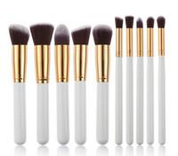 2016 a estrenar del maquillaje de Kabuki Cepillos 10pcs / set cepillo cosmético profesional del kit de nylon de madera de la manija de pelo producto de moda