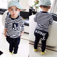 New 2016 Spring Kids Clothes Navy Long- Sleeved Pullover Str...