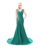 2016 Real Image Turquoise Mermaid Evening Dresses Sheer Jewe...