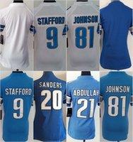 Women Ladies Football Lions Blank #9 Stafford #20 Barry Sand...