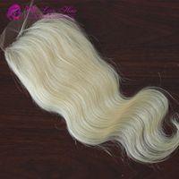 613# color hair grade 6A brazilian hair 3 part lace closure ...