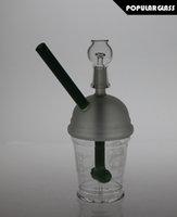 Cylindres de percussion Boulon de verre Sablé Starbuck Coupe Tuyau d'eau de fumée de verre Diffusion de verre Plate-forme d'huile Taille de joint 14.4mm SL15027 V3