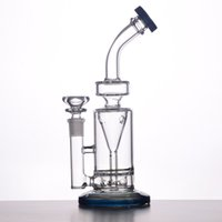 Bongs en verre Waterpipes avec teal Couleur Base et embouchure 50mm Thick Tube Eau Proff Heavy Dry Bowl BestGlass