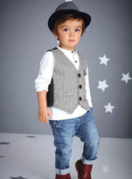 2016 Autumn Boy Outfits Set Long Sleeve T- Shirt + Waistcoat ...