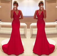 2017 Long Red Evening Dresses Deep V Neck Full Beads Sweep T...