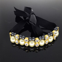 wholesale! rhinestone imitate pearl dog collar necklace with...